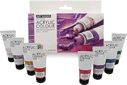Lot De 8 Tubes De Peinture Acrylique Pailletee De 22 Ml Chacun Pour Peindre Sur Toile Amazon Fr Cuisine Maison