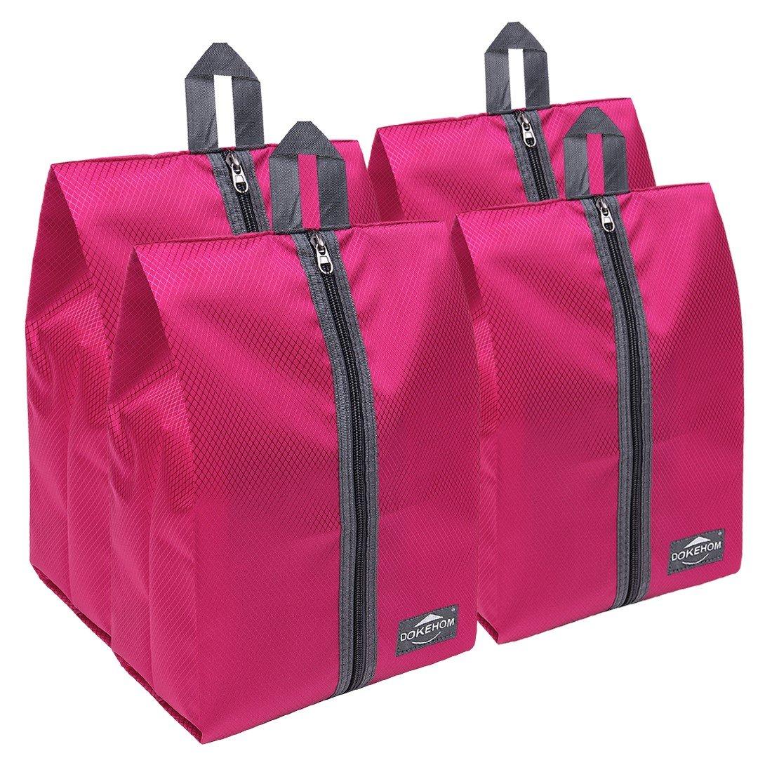 DOKEHOM DKA3030DPG1 Portable Nylon Travel Shoe Storage Organizer Bag (8 Colors) with Zipper Closure (Pack 4, Dark Pink) by DOKEHOM (Image #1)