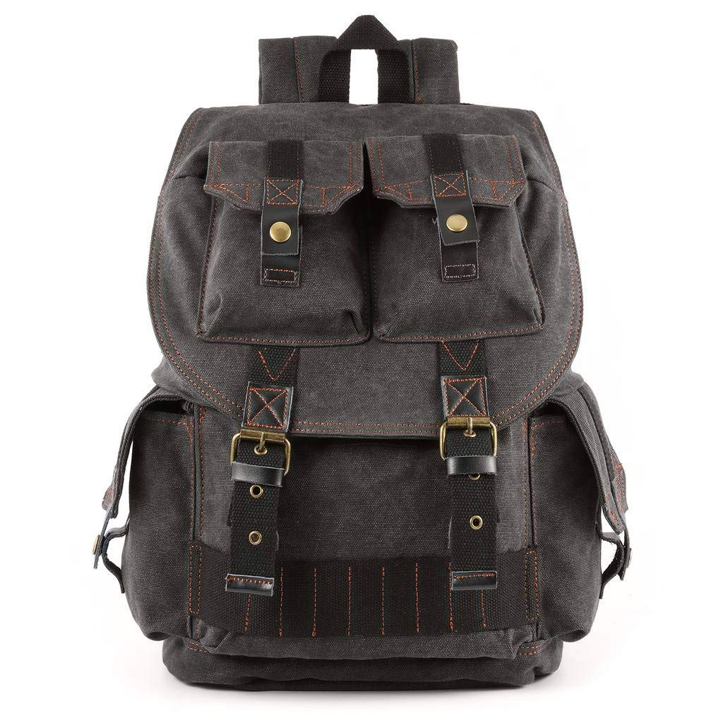 KatteeキャンバスファッションカメラバックパックDSLR一眼レフケースリュックサックバッグ付き防水レインカバーダークグレー   B07GYP6T4C