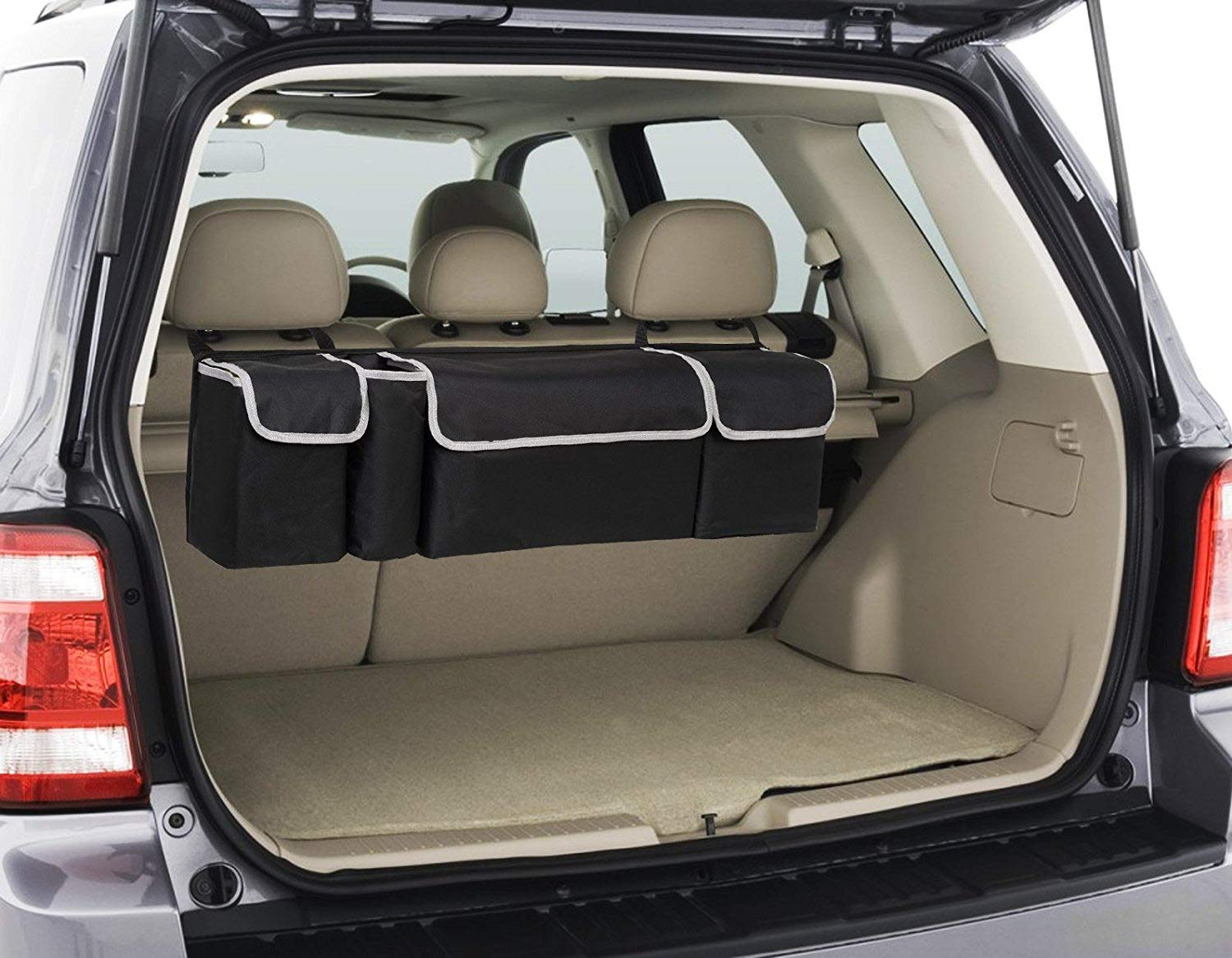 DIDIBABA Car Back seat Organizer Travel Storage Bag 4 Compartment Multi Pocket Car Trunk Organizer Car Holders for SUV,Truck,Auto,Minivan