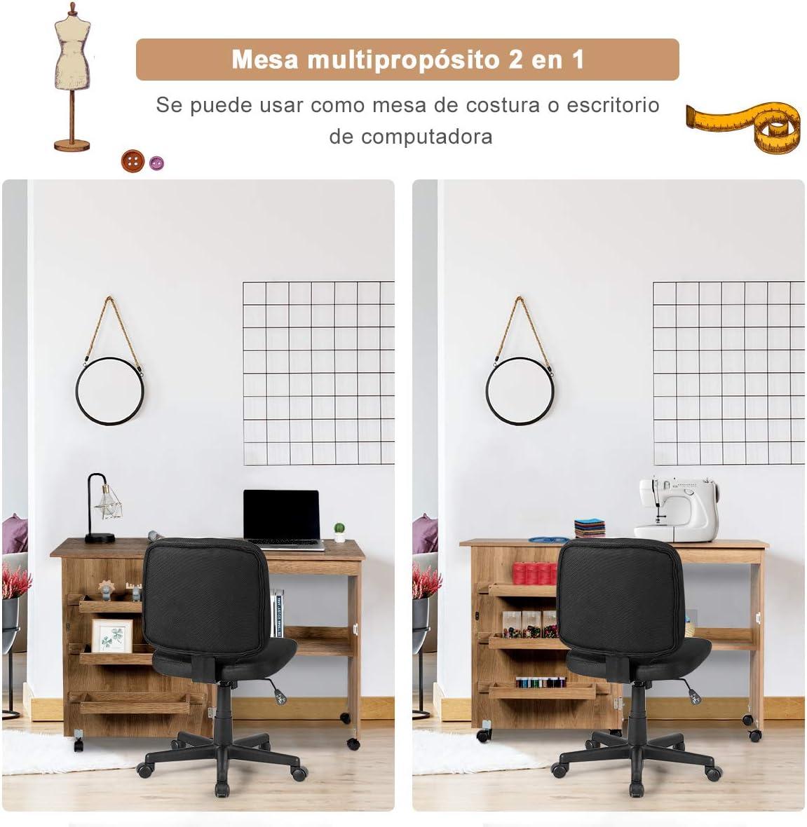 COSTWAY Faltbarer Nähschrank Nähtisch Nähmaschinentisch Nähmaschinenschrank Mehrzwecktisch Schreibtisch Arbeitstisch auf Rollen weiß