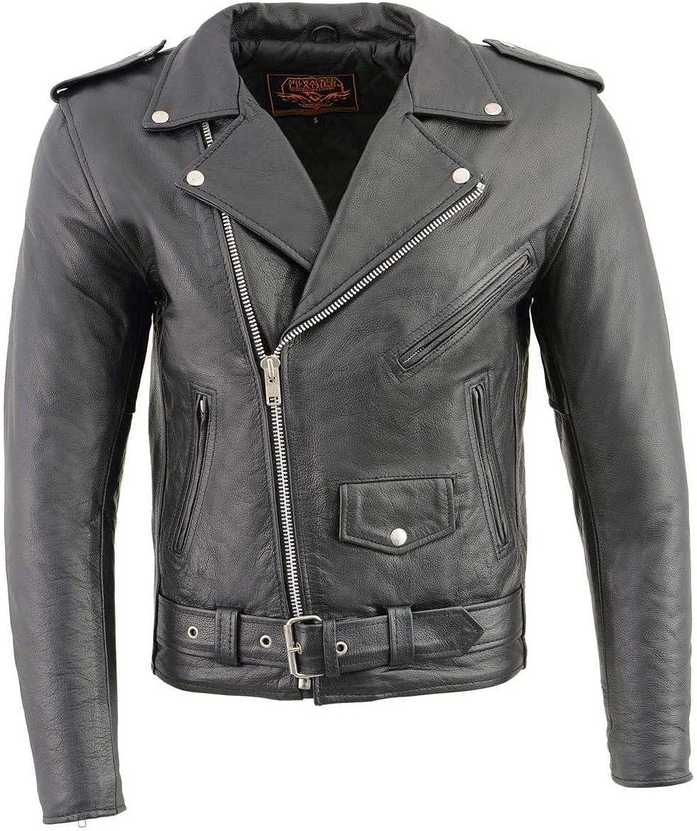Milwaukee Leather LKM1781 Men's Classic Police Style Black Leather Motorcycle Jacket - 4X-Large