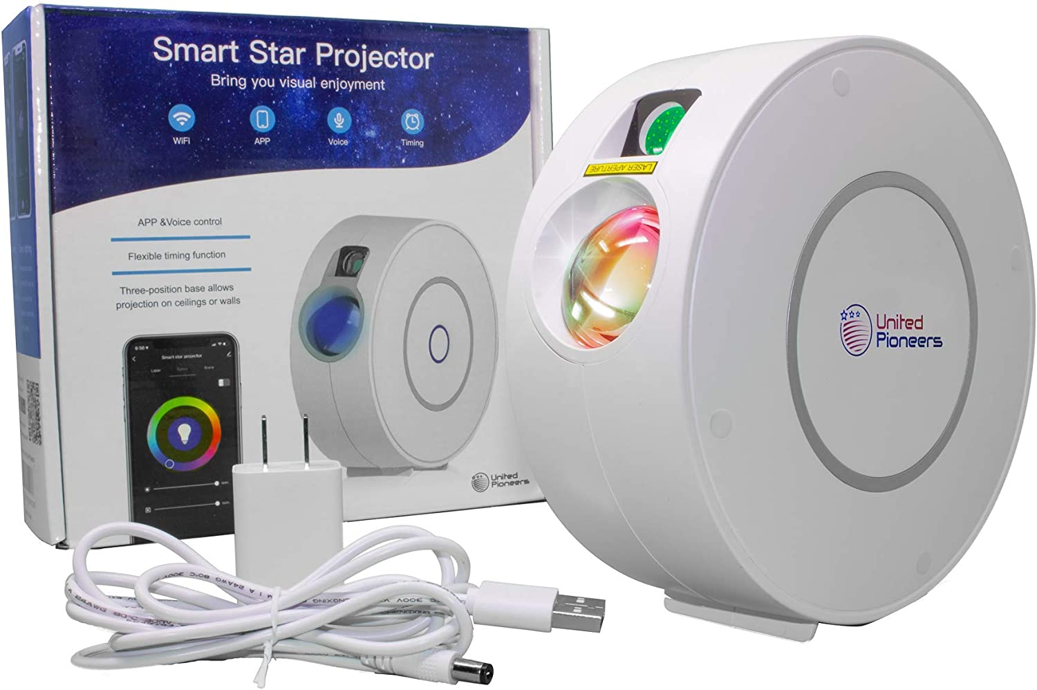 Smart Star Projector is a Star and LED Galaxy Light Projector for Bedroom, Game Rooms and Parties. Star Galaxy Projector is Great for Any Age.Compatible with Alexa, Google Home,Control by App.