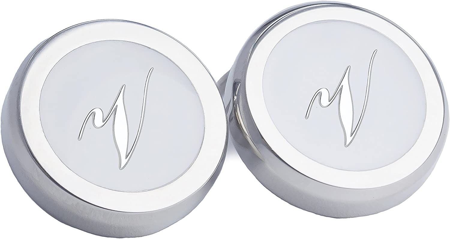 1 Pair Personalized Alphabet Round Clip-on Silver /& White Button Covers