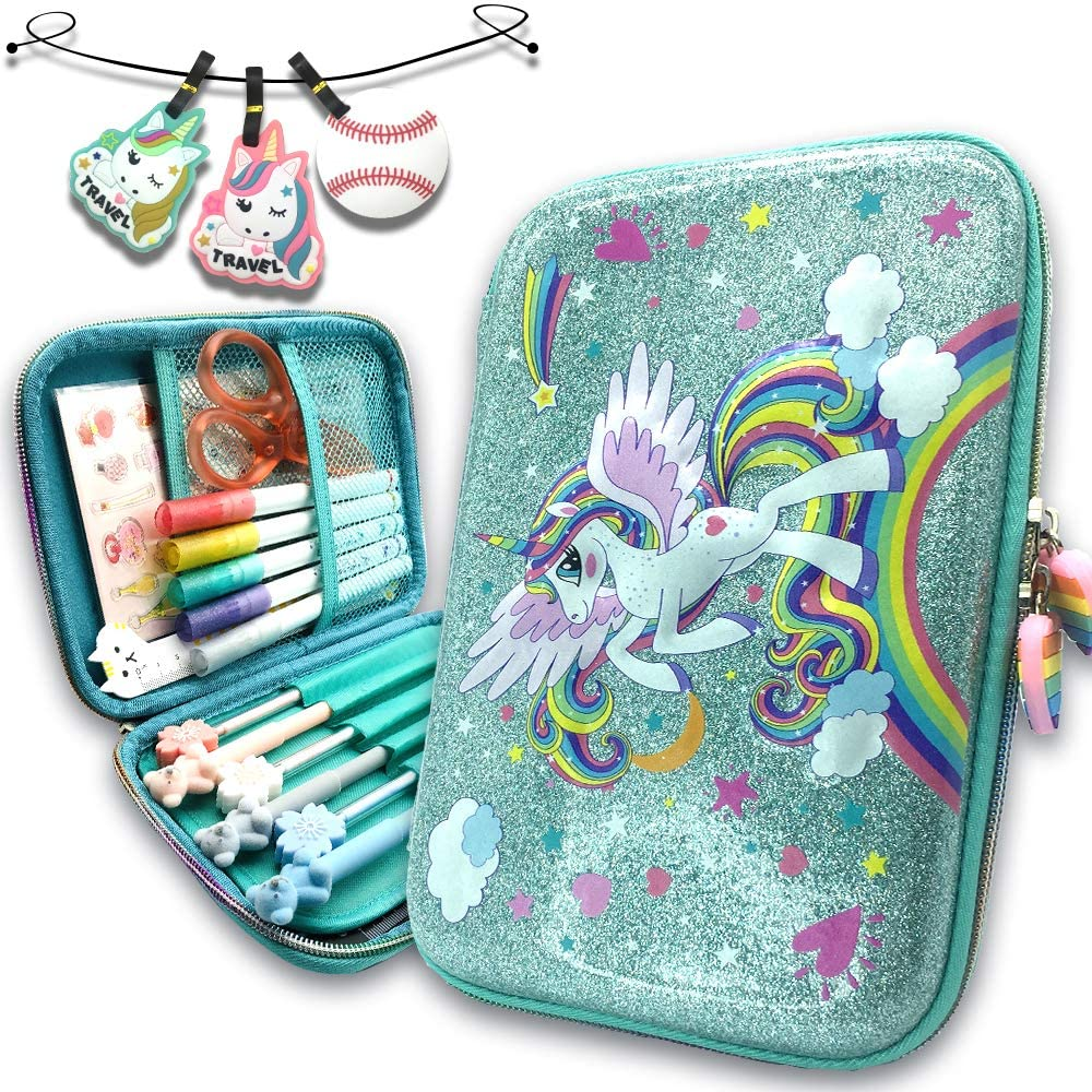 Cute Pencil Cases for Girls Colored 3D Embossed Pen Boxes Anti-Shock Maker Organizer Unicorn Green