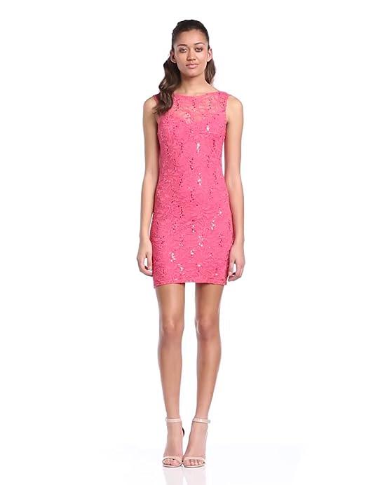 Lipsy Women\'s Lace Seqin Shift Mini Dress, Orange (Coral), Size 14 ...