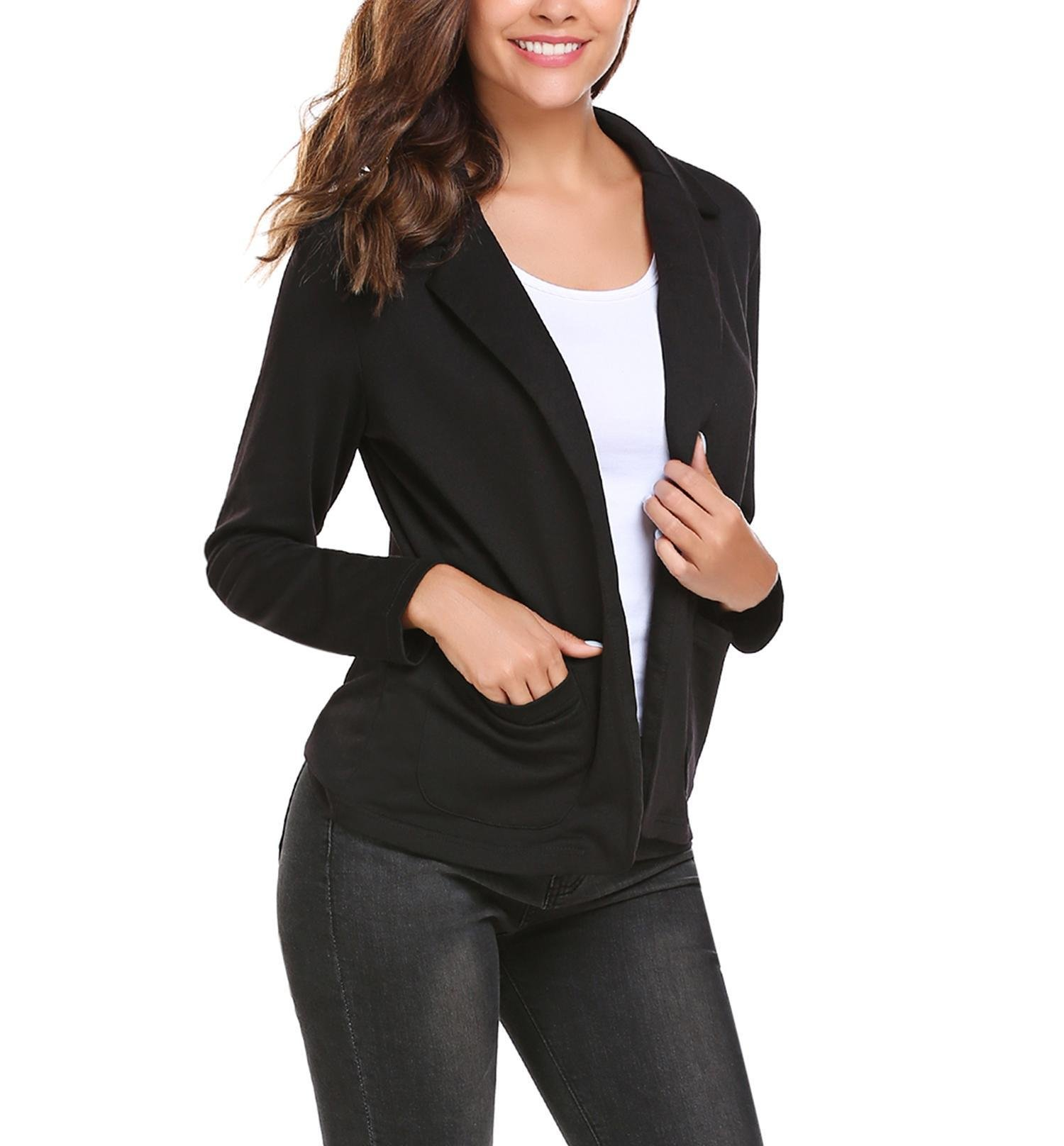 ThinIce Women's Lightweight Long Sleeve Open-Front Blazer Wear To Work Tops Black XXXL