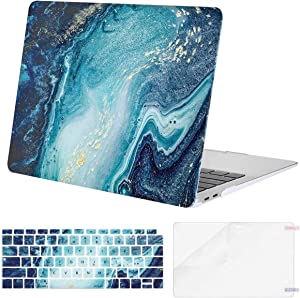MOSISO MacBook Air 13 inch Case 2020 2019 2018 Release A2179 A1932 Retina Display, Plastic Pattern Hard Shell&Keyboard Cover&Screen Protector Only Compatible with MacBook Air 13, Creative Wave Marble