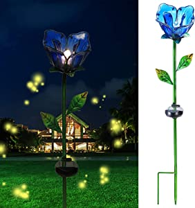 Solar Garden Decor Stake Outdoor Light Glass Flower Stake for Yard Lawn Decor Backyard Decorations