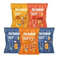 Turbana Plantain Chips Variety Pack - Box of 5 x 7oz bags (2 Lightly Salted, 1 Sweet, 1 Sweet Chili &1 Sweet & Salted)