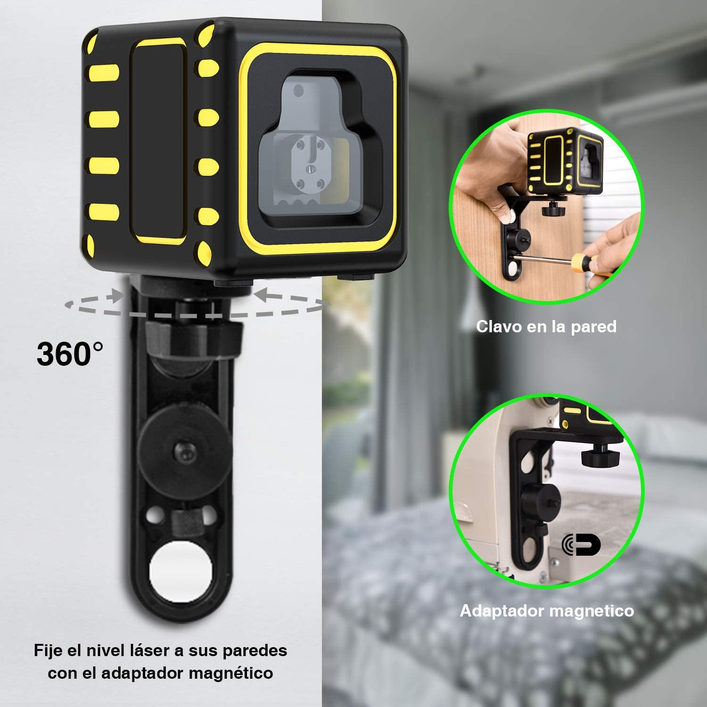Nivel l/áser autonivelante de con modo Manual Bolsa Port/áti y 3 Pilas Incluidas Nivel l/áser IP54 papasbox 20M Nivelador L/áser Horizontal y Vertical Soporte Giratorio Magn/ético