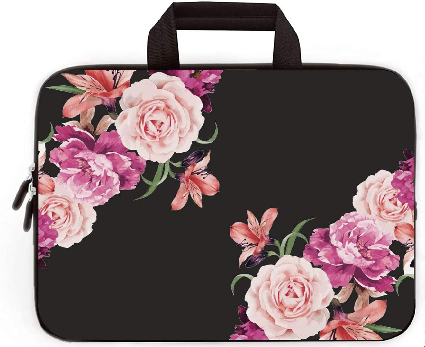 """11"""" 11.6"""" 12"""" 12.1"""" 12.5"""" inch Laptop Carrying Bag Chromebook Case Notebook Ultrabook Bag Tablet Cover Neoprene Fit Samsung Google Acer HP DELL Lenovo Asus (11 11.6 12.1 12.2 inch, Peony Flower)"""