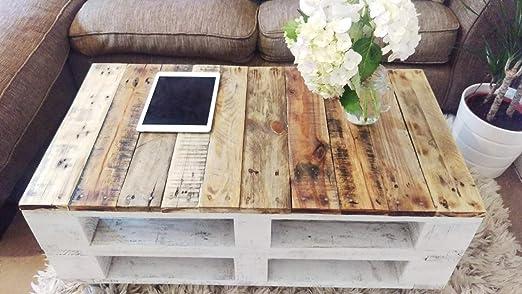 Mesa de palets de madera con ruedas - Mesita Auxiliar & Centro hecha con madera de pallets para Salon & Jardin, terraza, DIY - Estilo rustico, ...