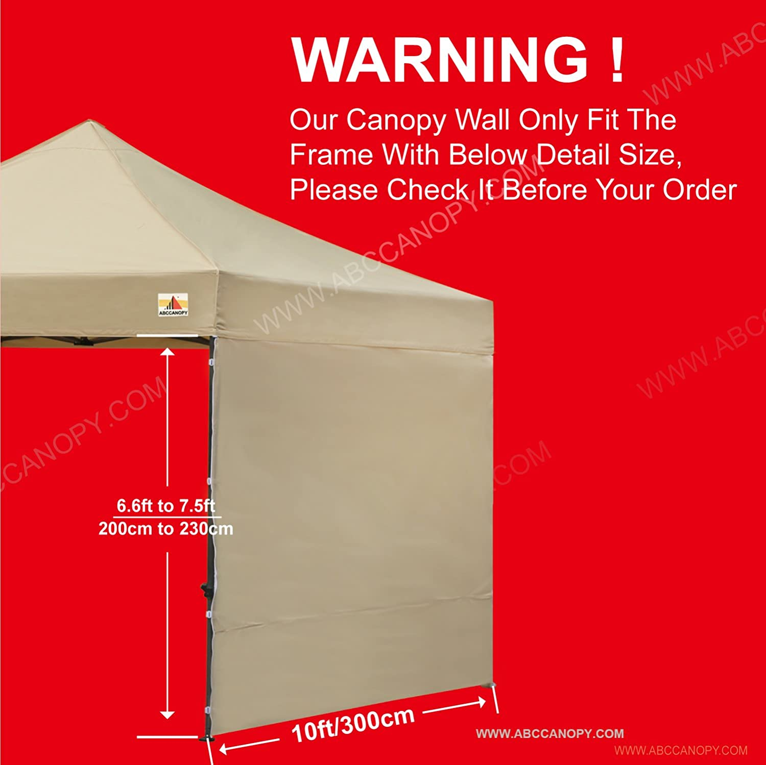 ABCCANOPY 15+Colors 10 Sun Wall for 10x 10 Straight Leg pop up Canopy with Truss Straps 10 Sidewall kit Beige 1 Panel