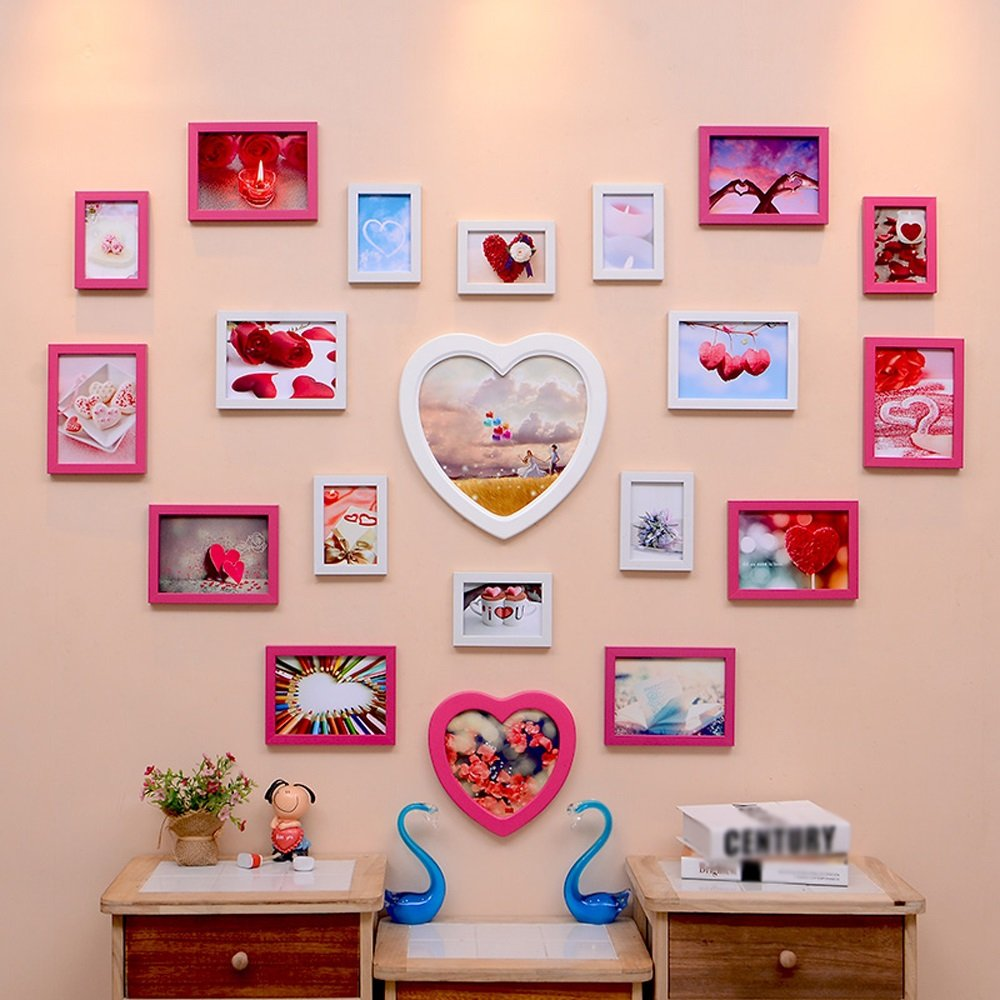 Photo Wall, Creative Living Room Wedding Photo Wall, Love-shaped Children Bedroom Photo Frame Wall Frame Wall Combination ( Color : 3# )