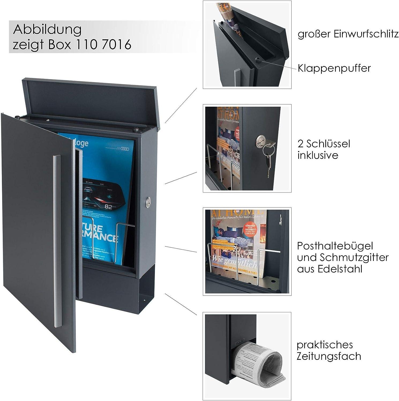 MOCAVI Box 110 Postkasten mit Zeitungsrolle gro/ß Wand-Briefkasten mit Zeitungsrolle modern deutsche Qualit/ät DIN A4 Design-Briefkasten mit Zeitungsfach moos-gr/ün RAL 6005