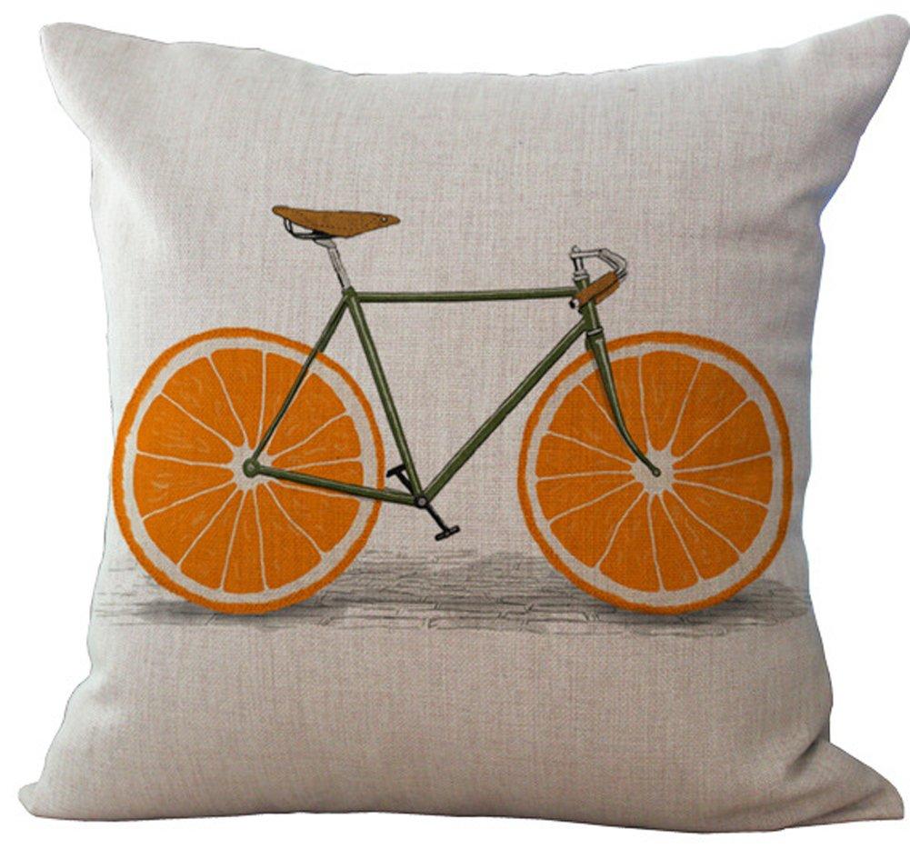 YJ Bear Lemon Vehicle Wheel Bicycle Decorative Pillow Case Cotton Linen Decorative Throw Bike Cushion Cover Home Decor 18 X 18
