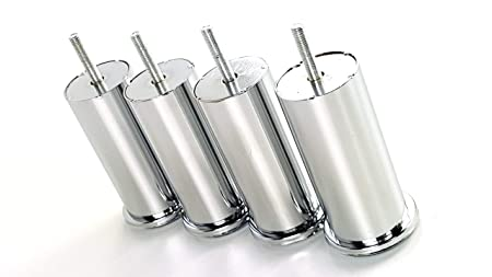 10mm CHAIRS 4x CHROME FEET METAL FURNITURE LEGS FOR SOFAS STOOLS M10 BEDS