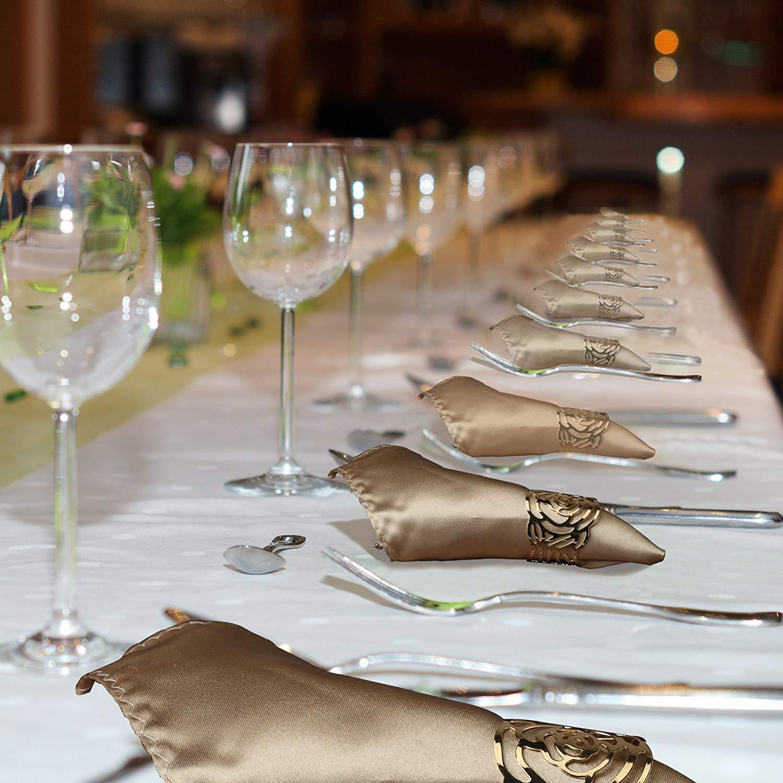 Huecos para decoraci/ón de Mesa de Cena 12 Unidades Anjing servilleteros con Anillas de Metal