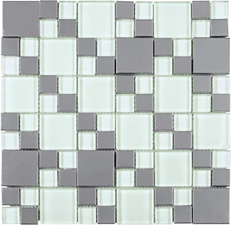 Amazon Com Tbssg 02 Modern Cobble Stainless Steel With White Glass Mosaic Tile Kitchen And Bath Backsplash Wall Tile 10 Sheets Home Kitchen