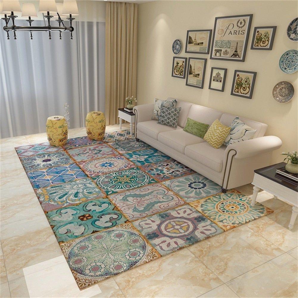Bunte Rutschfeste rechteckige Teppich Wohnzimmer Couchtisch Schlafzimmer Bedside Bereich Teppiche Matten (größe   140  200cm)