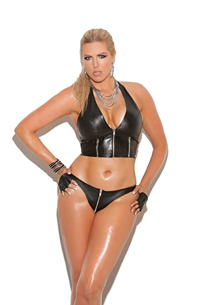 ac70c195071 Amazon.com  Hot Spot Women s Zip Up Leather Thong Panty Adult Role Play  Plus Size Lingerie  Clothing