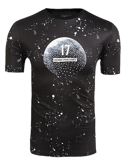 eba4faeaecdf1a Coofandy Men s Casual Short Sleeve Digital printed T-Shirt Pullover  Crewneck Summer Cotton Tees(
