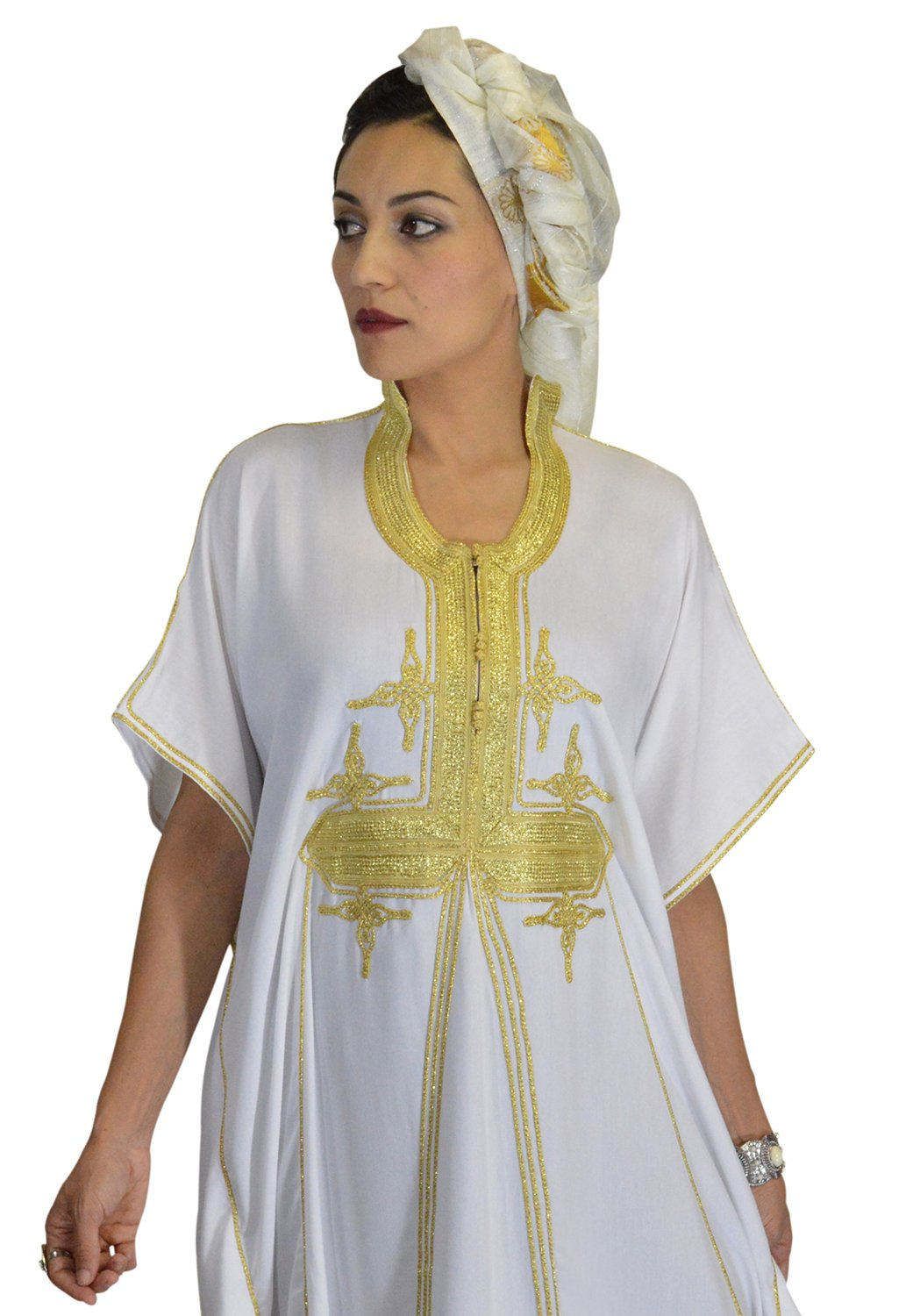 Moroccan Caftans Women Butterfly Hand Made with Gold Embroidery Long One Size White by Moroccan Caftans (Image #2)