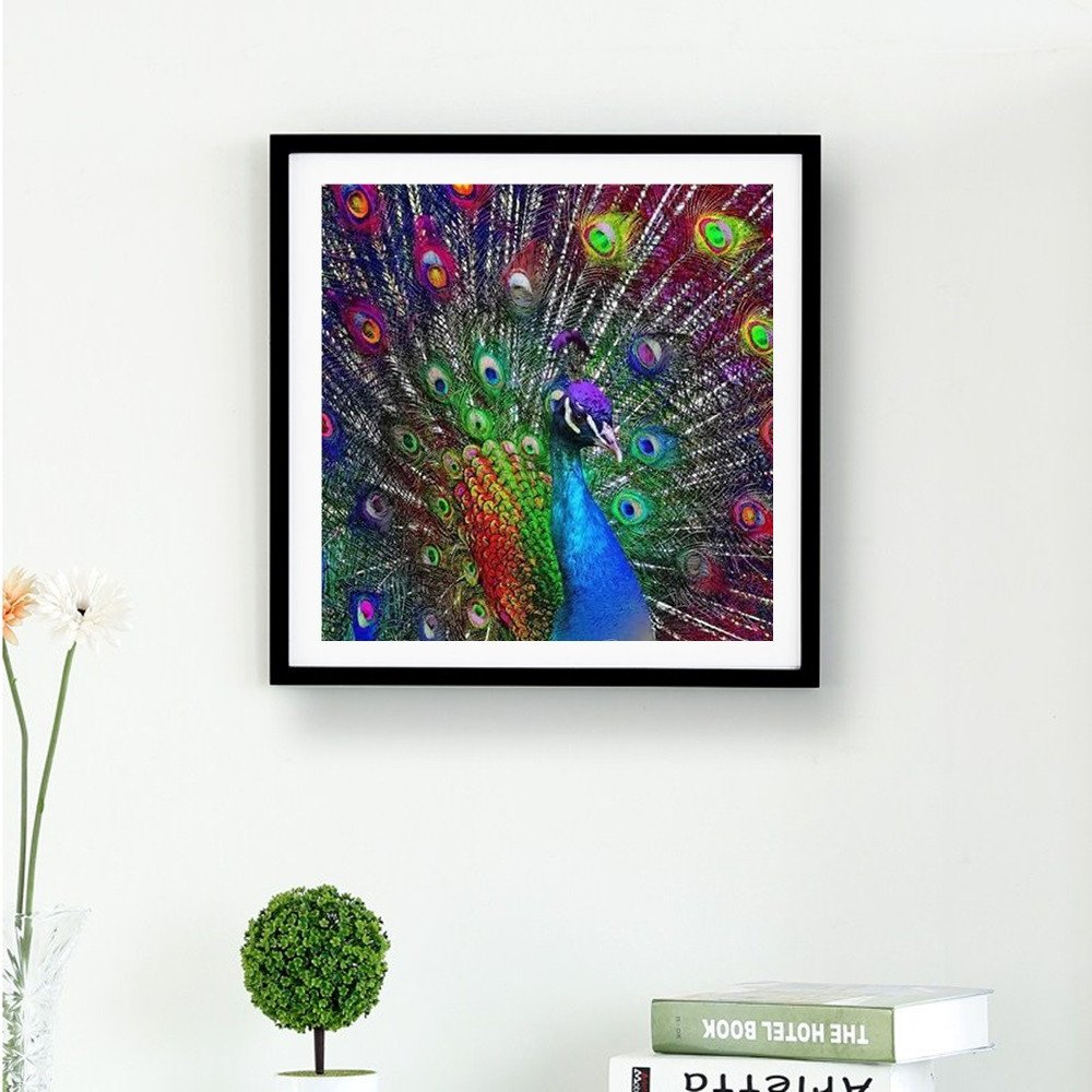 REYO 1 Cent Item DIY 5D Diamond Painting Peacock Crystal Rhinestone Embroidery Wall Stickers Pictures Arts Craft for Home Wall Decor 30cmx30cm