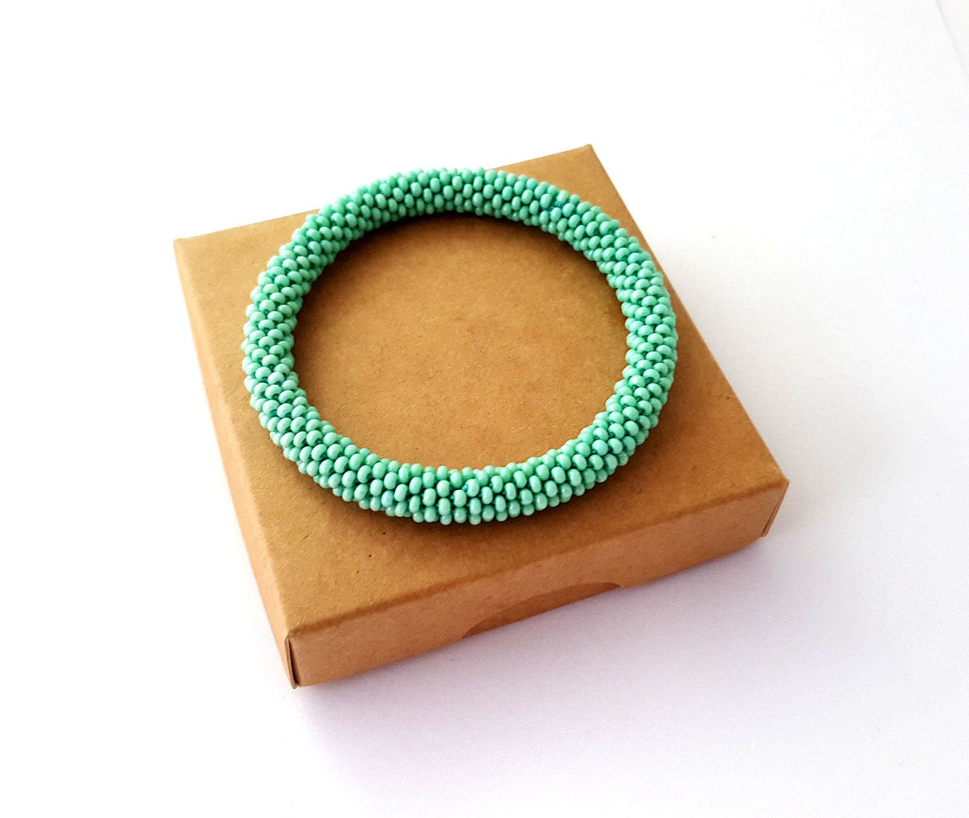 Mint Green Roll On Bracelet Nepalese Bangle Beaded Wristband