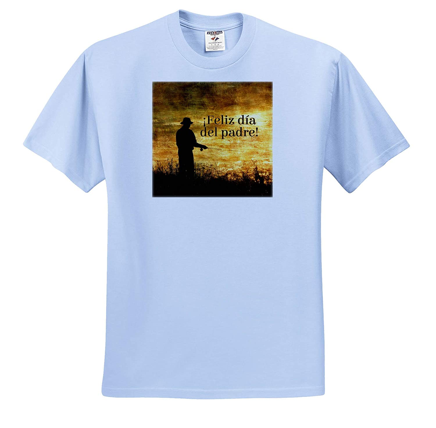 ts/_319557 3dRose Doreen Erhardt Cultural Fathers Day Fisherman in Spanish Language Text at Sunrise Adult T-Shirt XL