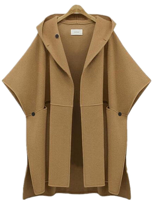 Season Show Women's Bat-wing Sleeve Fleece Hoodie Cardigan Poncho Wool Coat