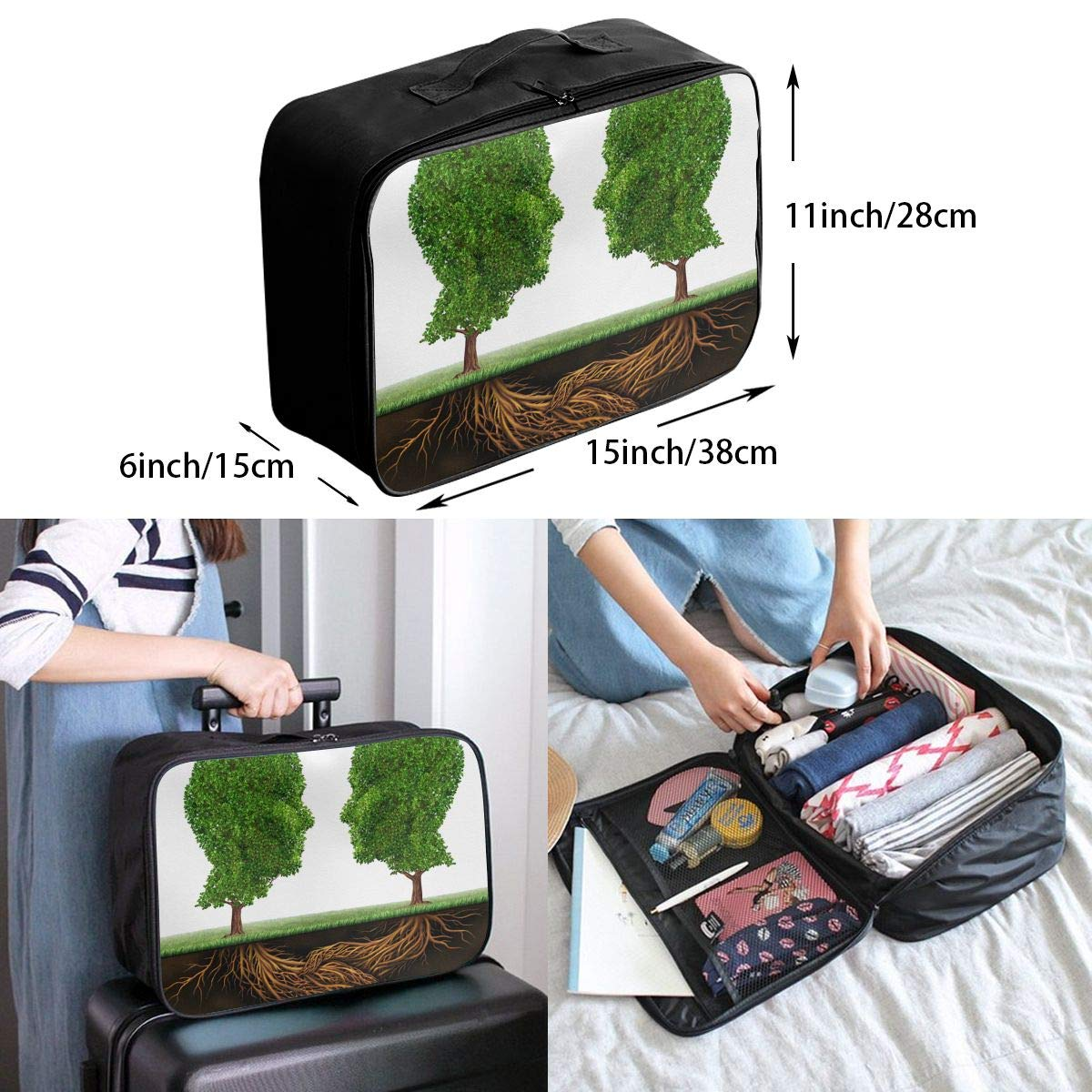 Travel Luggage Duffle Bag Lightweight Portable Handbag Green Tree Brain Pattern Large Capacity Waterproof Foldable Storage Tote