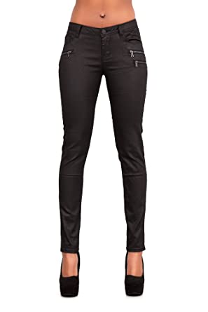 89148ad7bb8b LustyChic Womens Black Leather Look Trousers Wax Jeans Ladies UK Sizes 6-14  (6
