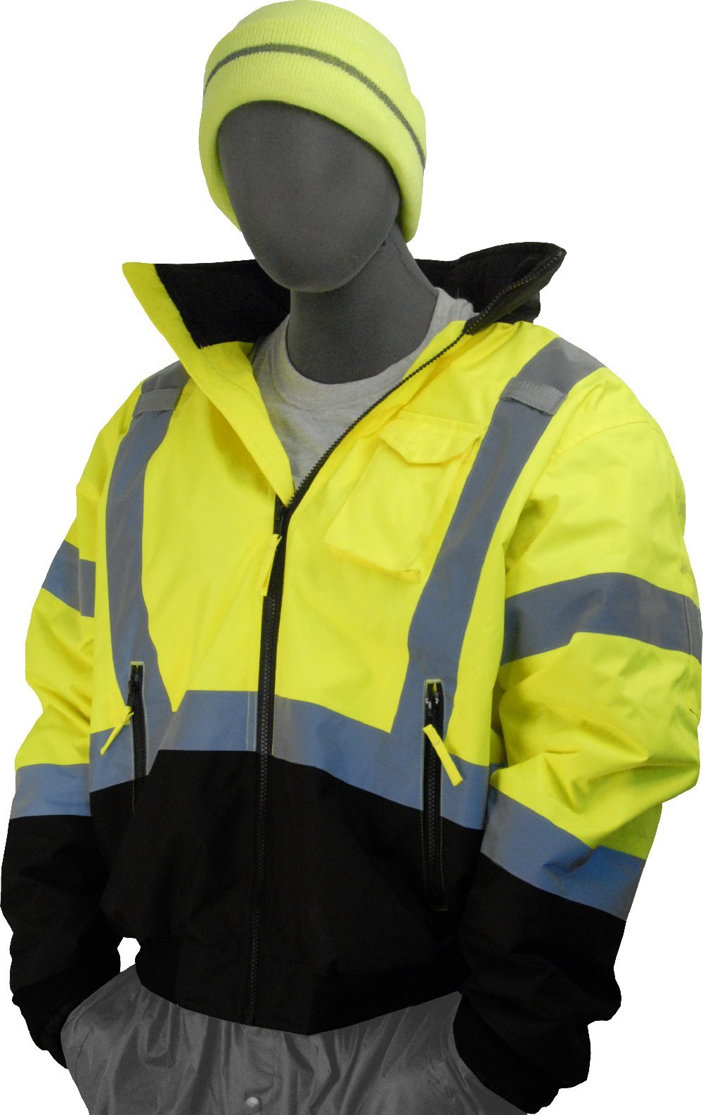 Majestic Glove 75-1313 PU Coated Polyester High Visibility Bomber Jacket with Black Bottom and Fix Quilted Liner, Large, Yellow