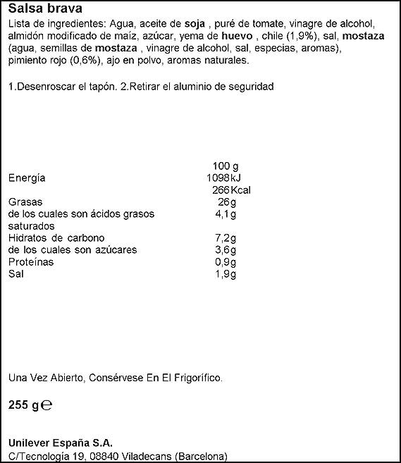 Hellmanns - Salsa Brava - 250 ml: Amazon.es: Amazon Pantry
