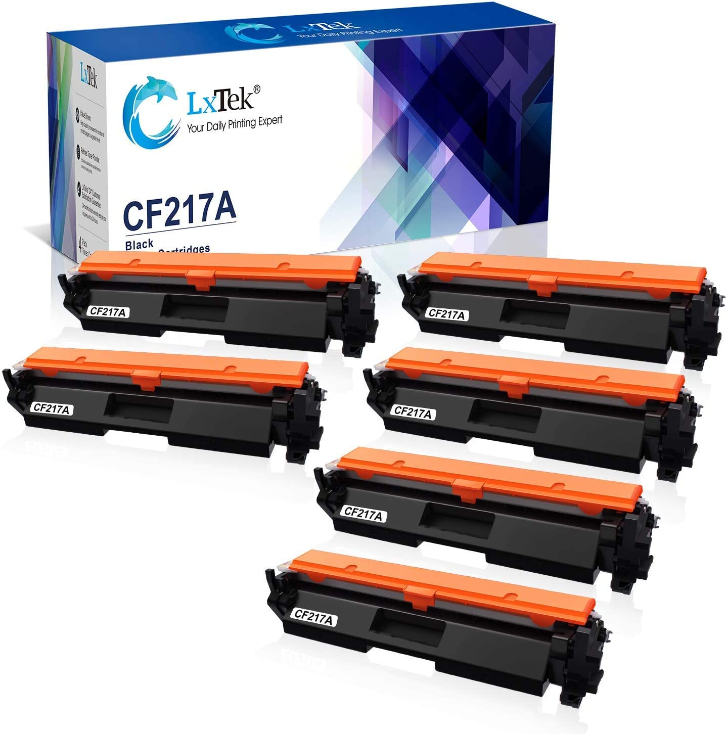LxTek Compatible Toner Cartridge Replacement for HP 17A CF217A 2 Black Bundled with 4 Black (Total 6 Pack)