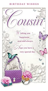 Female cousin happy birthday greeting card second nature just to say cousin birthday card happy birthday handbag roses butterflies 9 m4hsunfo