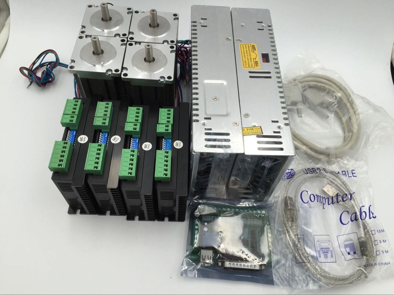CNC Stepper Motor Kit 4Axis 4pcs Nema34 Stepper Motor & 4pcs Motor Driver 24~110VDC AC18-80V & 4pcs 400W Power Supply & Breakout Board & Cable