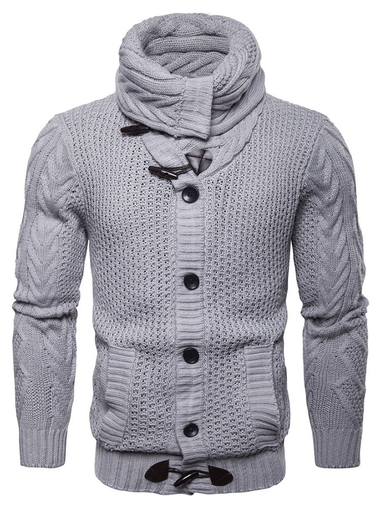 8700dec0e9 LAICIGO Mens Cable Knit Cardigan Turtleneck Shawl Collar Button Down Slim  Fit Sweaters with Pockets