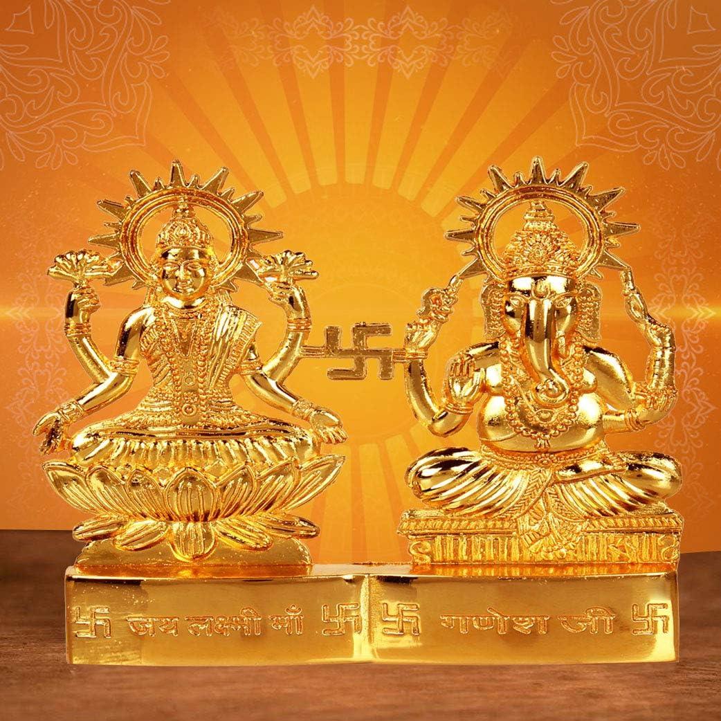 Craftsman 4 inch Hindu God Lakshmi Ganesha Metal Figurine Statue Idol murti Set for Home Indian Diwali Festival Pooja puja Decor.Indian Gift Items
