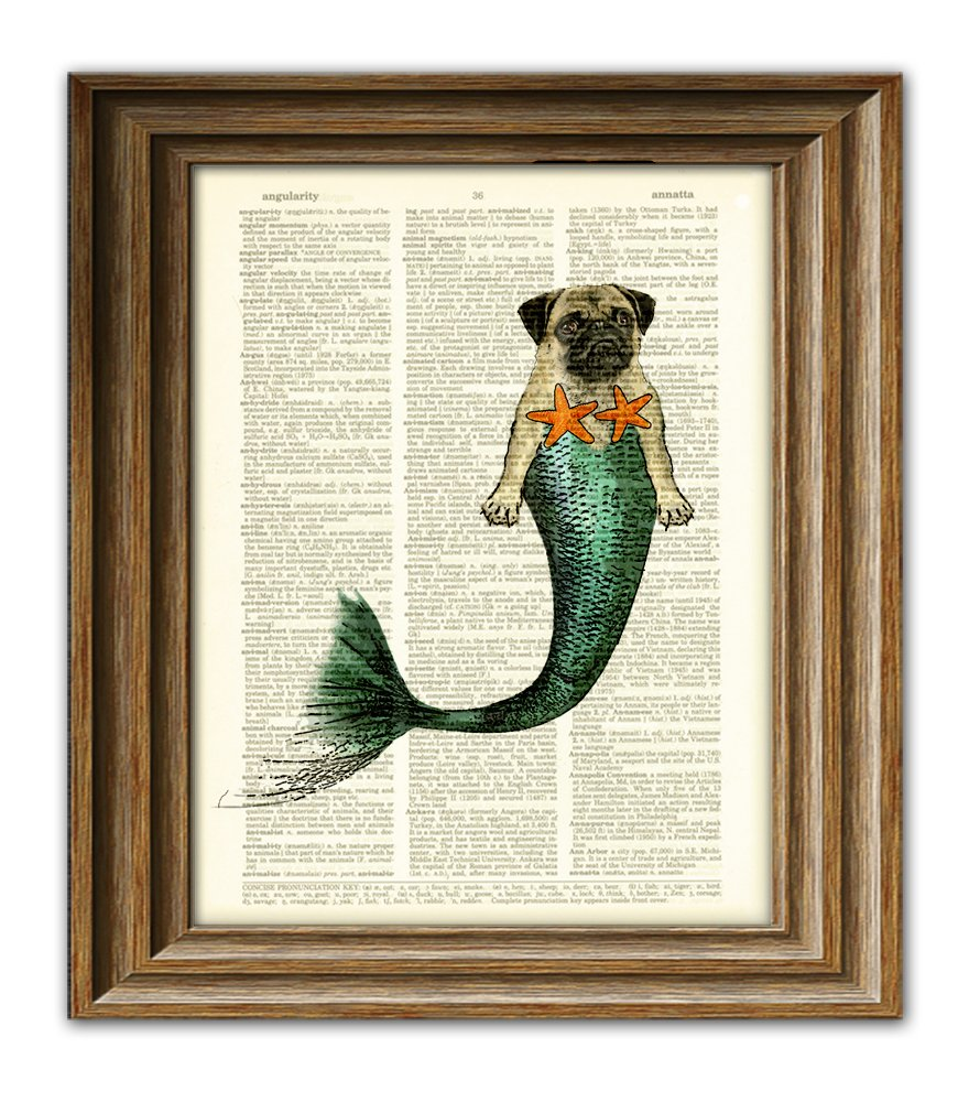 Miranda Merpug the Mermaid Pug searches the seas for the foodz dictionary page dog book art print
