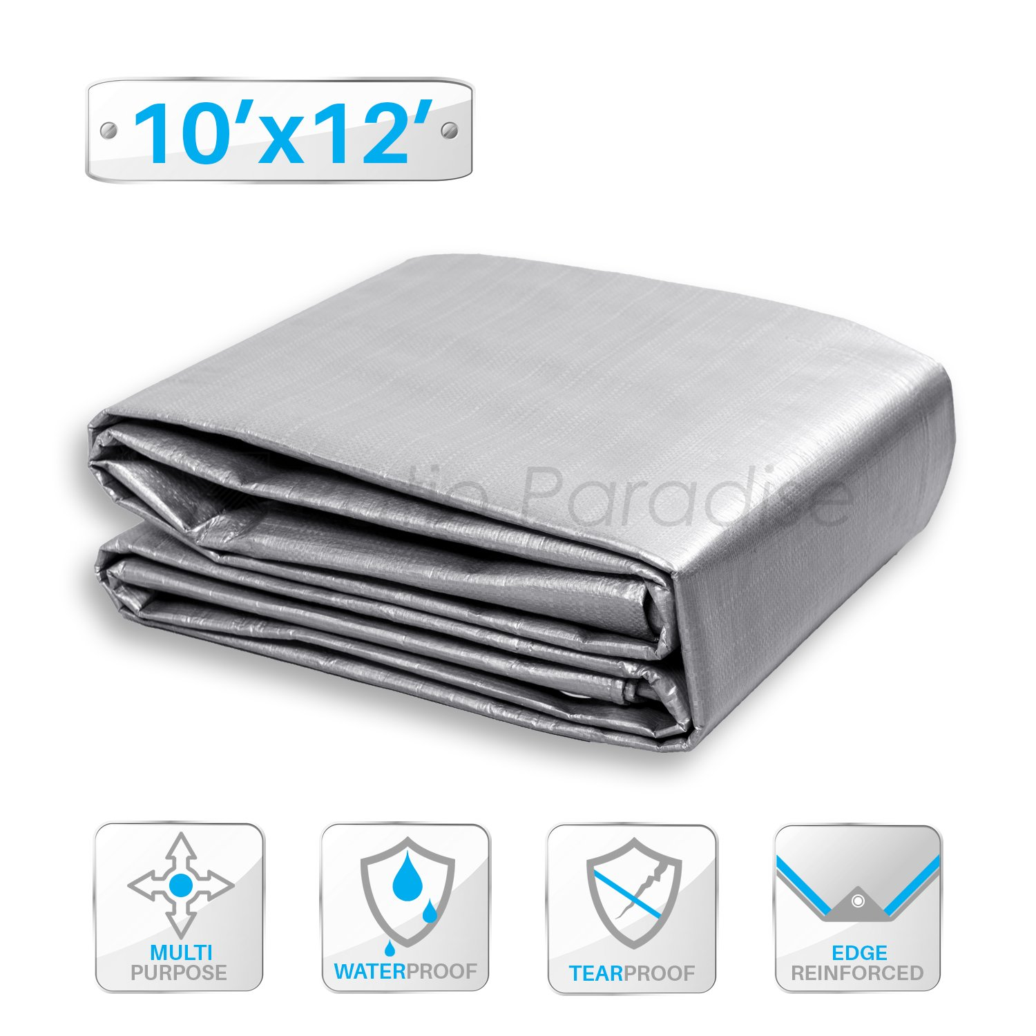 Patio Paradise 10 x 12 Feet Silver Poly Tarp, 10-mil Thick Lightweight Multi Purpose Waterproof Tarpaulin for Camping Trailer Canopy