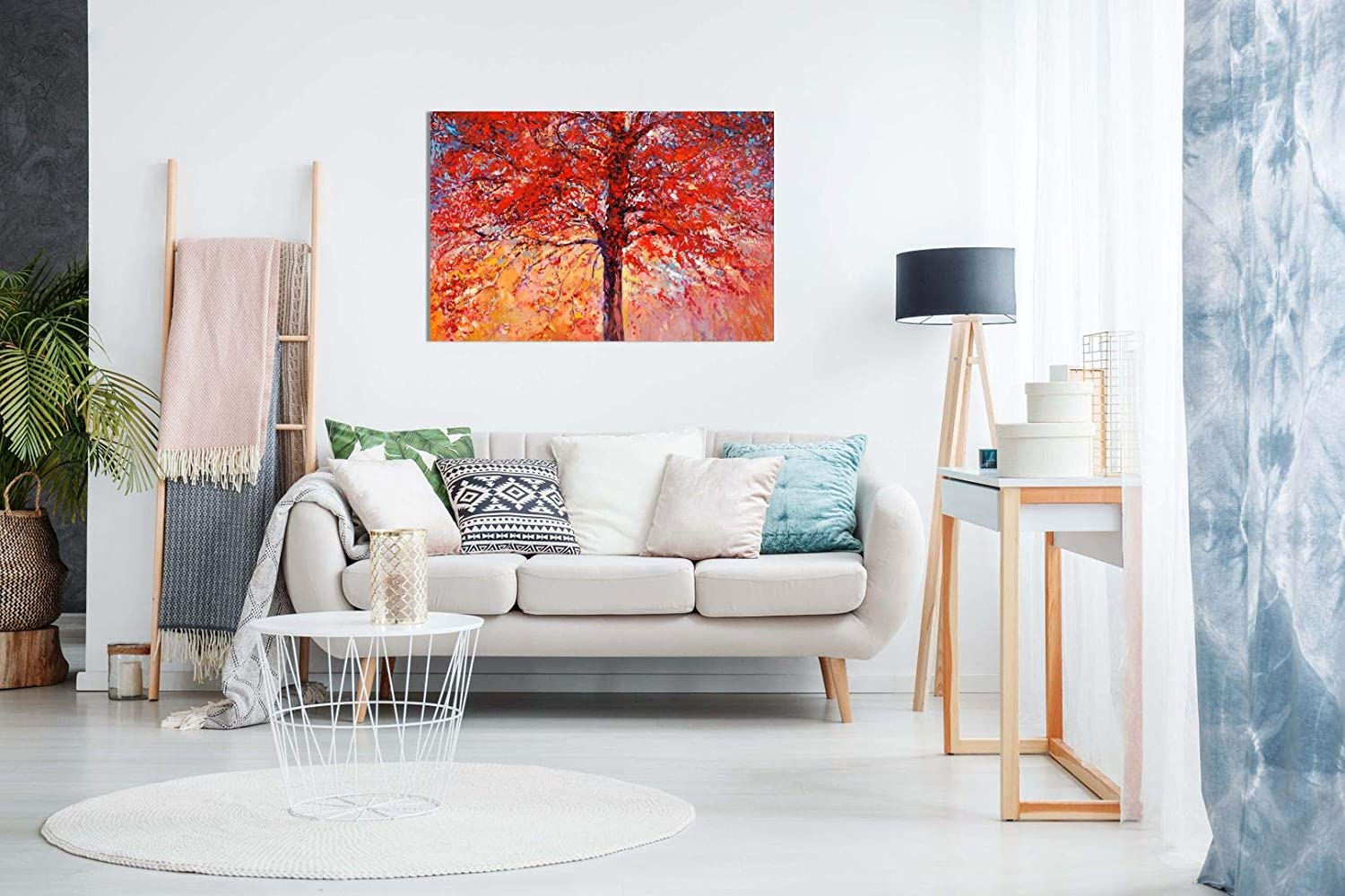 Abstract Oil Painting Red Autumn Tree Modern Canvas Wall Art Picture Print 36x24in