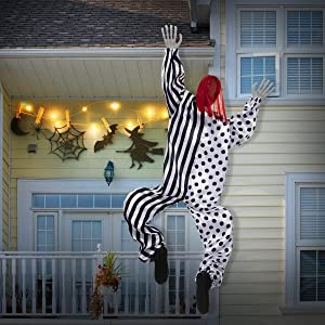 BOBOO1 Halloween Decorations, 63 Inch Life-Size Hanging Climbing Dead Zombie Monster Prop Halloween Haunted House Prop Decor(Clown)