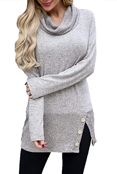 3ffe315711d Merryfun Women s Turtleneck Sweaters Cowl Neck Long Sleeve Knit Pullover  Blouse Solid Loose Fit Tops Causal