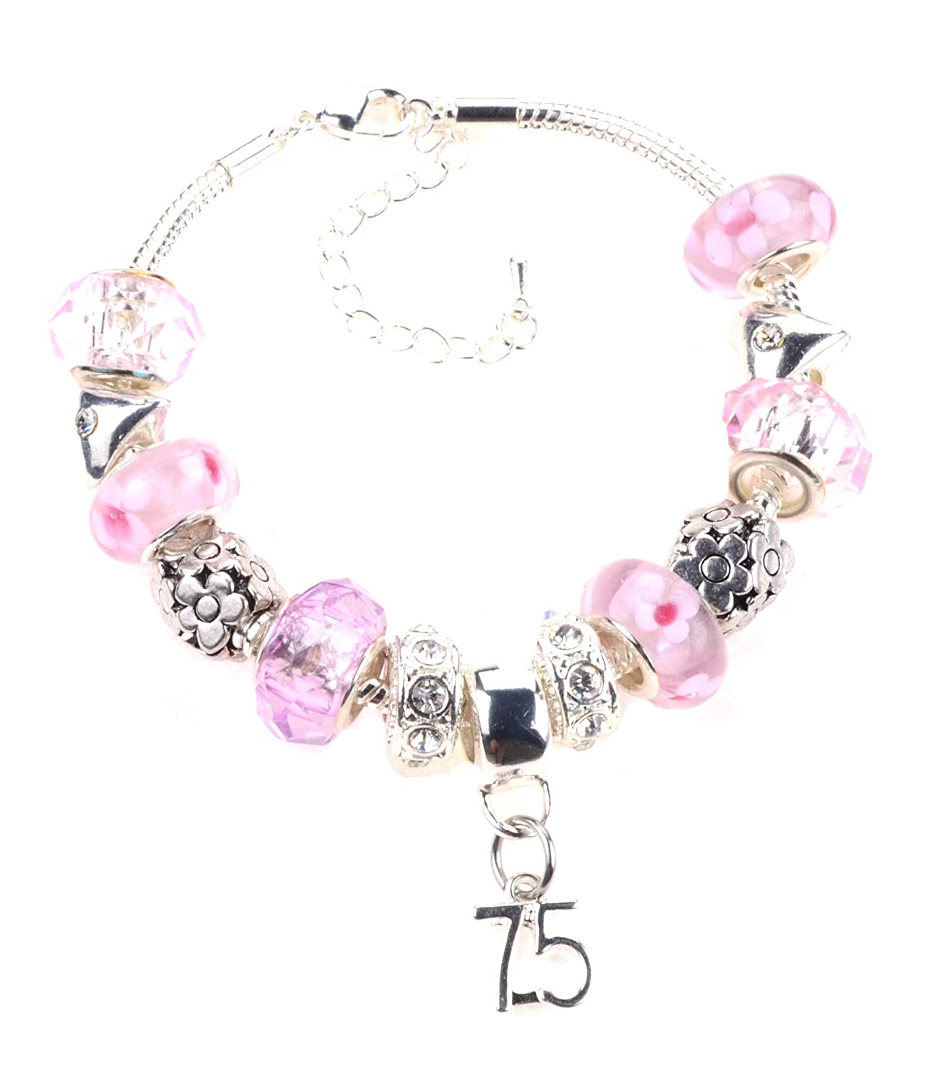 75th Birthday Pink Garland Themed Murano Charm Bracelet in Luxury Jewellery Box with Complimentary Birthday Card CBS Type4: Ch-70