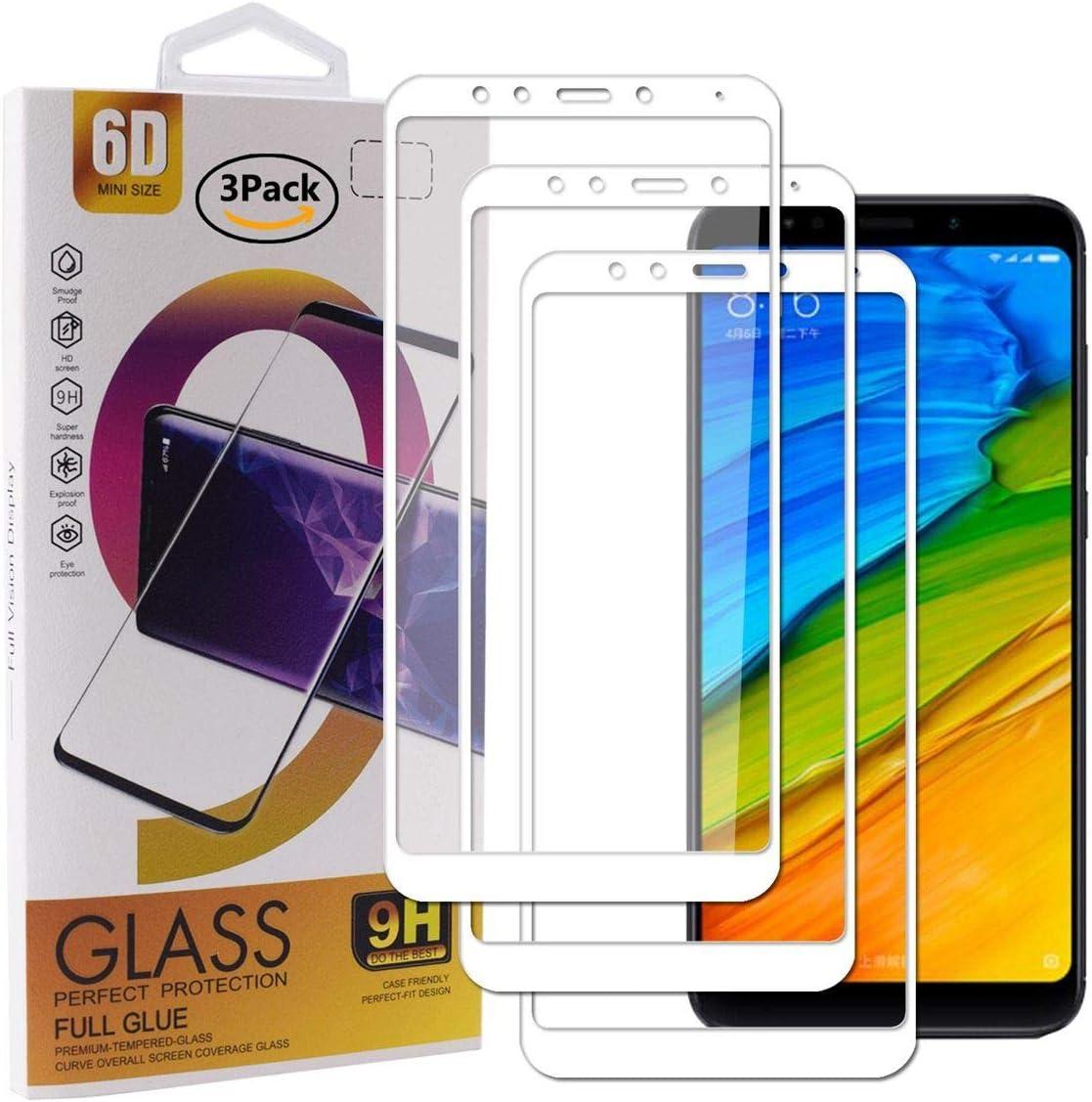Guran [3 Paquete Protector de Pantalla para Xiaomi Redmi 5 Plus Smartphone Cobertura Completa Protección 9H Dureza Alta Definicion Vidrio Templado Película - Blanco