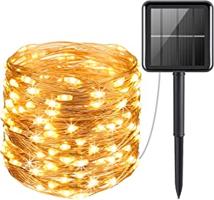 AMIR 100 LED Solar String Lights, Indoor/Outdoor Waterproof Solar Decoration Lights for Gardens, Home, Dancing, Party, Christmas (Warm White)