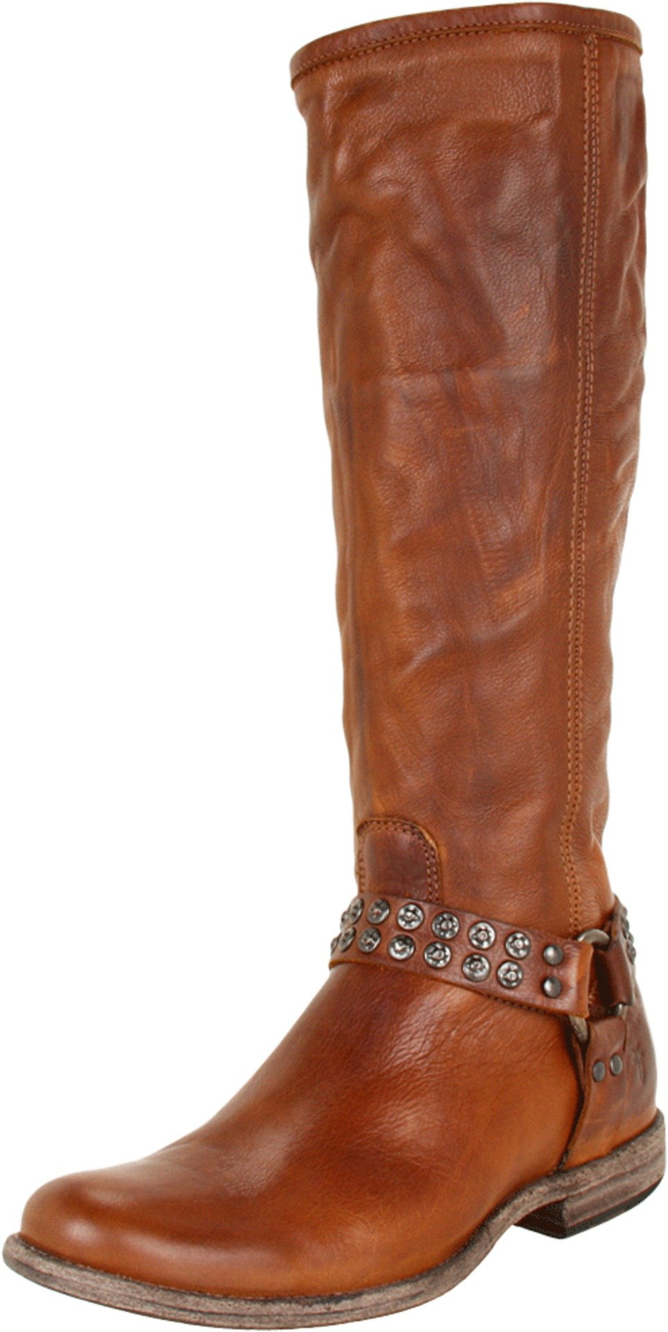 FRYE Women's Phillip Studded Harness Tall Boot, Cognac Soft Vintage Leather, 8 M US